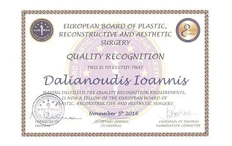 Dr Ioannis Dalianoudis European Board of Plastic and Aesthetic Surgery Πιστοποίηση